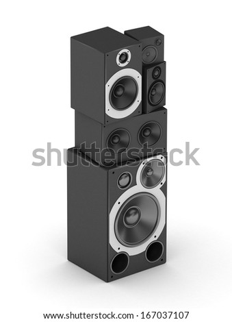Letter I from black hi-fi speakers sound systems  in isometry - stock photo