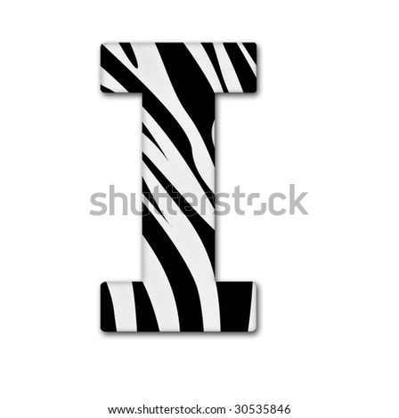 Letter I from the alphabet. Made of animal print. It has a clipping path. - stock photo