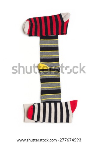 Letter I  made from colorfull socks isolated on white - stock photo
