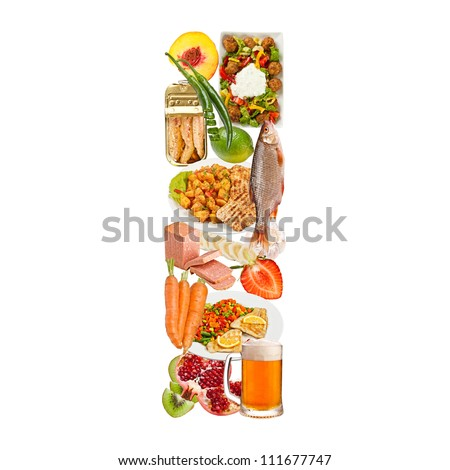 Letter I made of food isolated on white background - stock photo