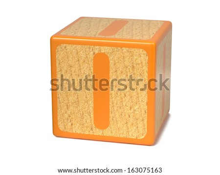 Letter I on Orange Wooden Childrens Alphabet Block  Isolated on White. Educational Concept. - stock photo