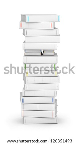 Letter I, stacked from many blank title books in column - stock photo