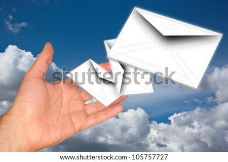 Letter In Hand - stock photo