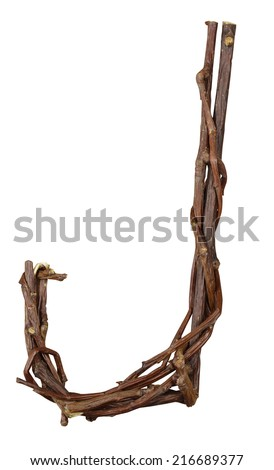 Letter J. Alphabet from the branches of birch are isolated on a white background. Wooden font. - stock photo