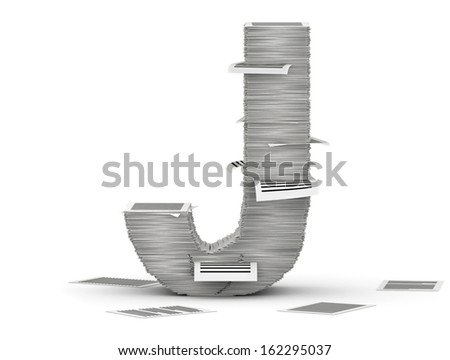 Letter J, from stacks of paper pages font - stock photo