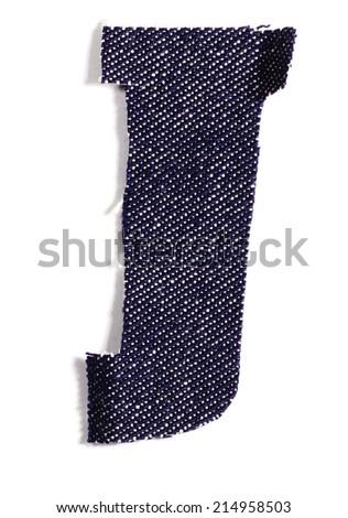 Letter J. Jeans alphabet Isolated on White. Handmade font. - stock photo