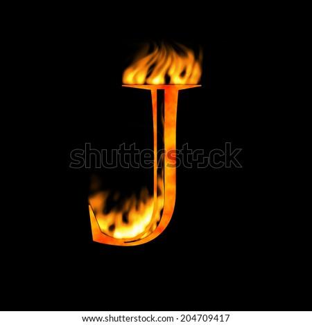 J Logo Fire Fiery J Letter Font St...