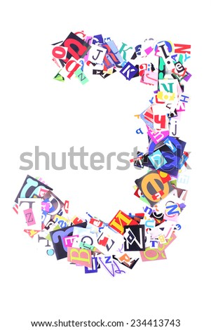 Letter J made of colorful newspaper letters isolated on white - stock photo