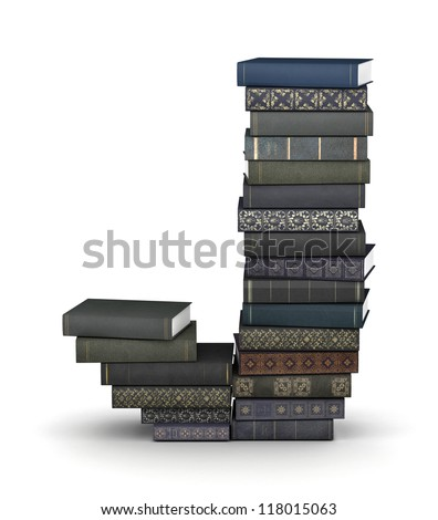 Letter J, stacked from many  books in pile - stock photo