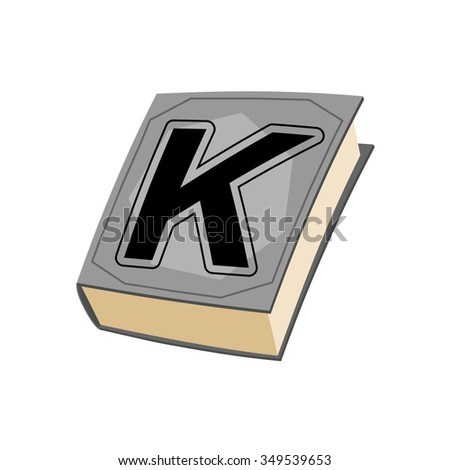 Letter K and on cover of book. Old Edition with alphabetical icon. Concept of template elements ABC - stock photo