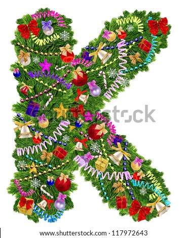 Letter K. Christmas tree decoration on a white background - stock photo