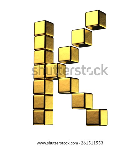 Letter K from big cube gold perspective alphabet. There is a clipping path - stock photo