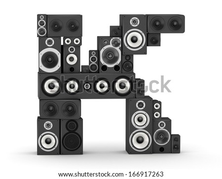 Letter K from black hi-fi speakers sound systems - stock photo