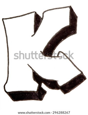 Letter K, hand drawn alphabet in graffiti style with a black fiber tip pen - stock photo