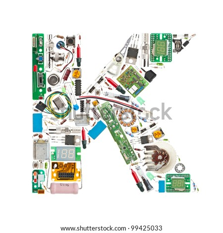 Letter 'K' made of electronic components isolated in white background - stock photo