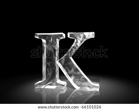 letter K of ice - stock photo