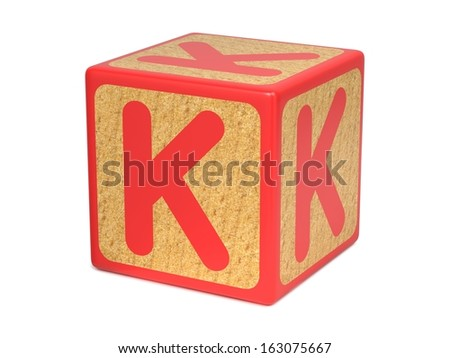 Letter K on Red Wooden Childrens Alphabet Block  Isolated on White. Educational Concept. - stock photo
