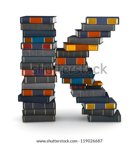 Letter K, stacked from many encyclopedia books in pile - stock photo