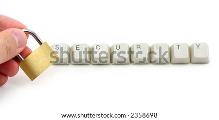 letter keys close up, concept of computer security protection - stock photo