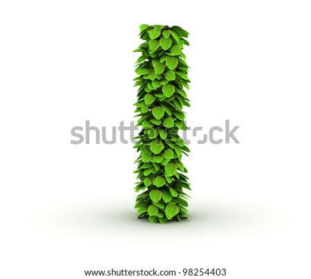 Letter  l, alphabet of green leaves, small caps - stock photo