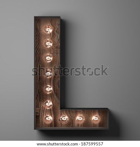 Letter L for sign with light bulbs - stock photo