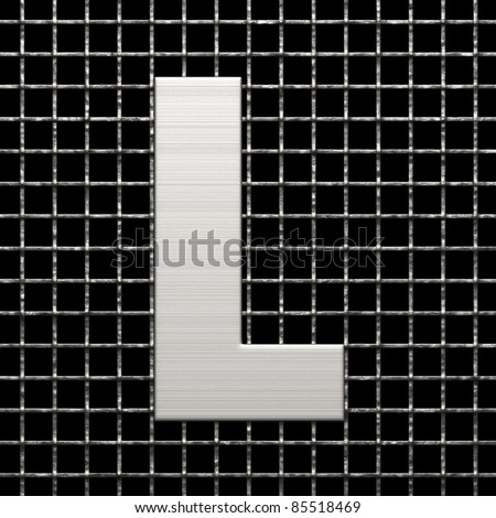 Letter L from metal net alphabet. There is a clipping path - stock photo