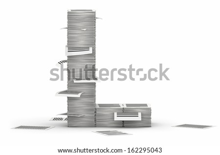Letter L, from stacks of paper pages font - stock photo