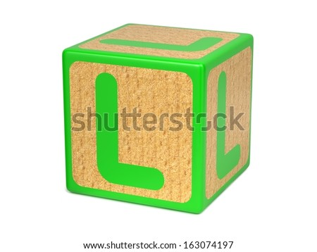 Letter L on Green Wooden Childrens Alphabet Block  Isolated on White. Educational Concept. - stock photo