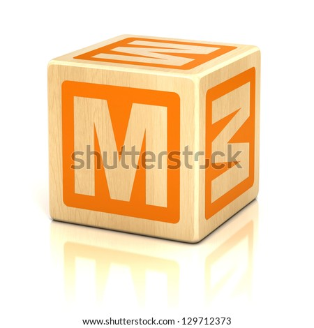 letter m alphabet cubes font - stock photo