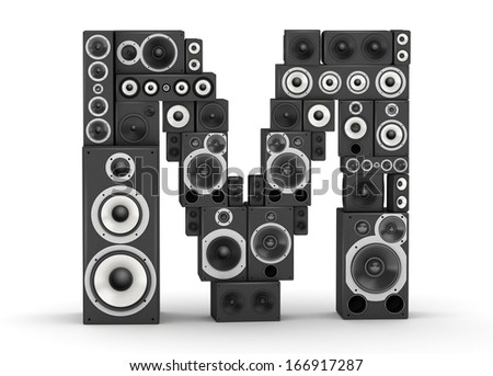 Letter M from black hi-fi speakers sound systems - stock photo