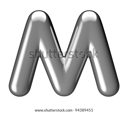 Letter M from chrome round solid alphabet. There is a clipping path - stock photo