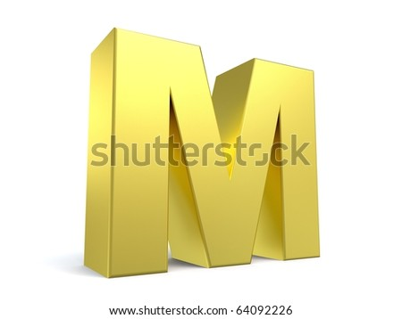 letter M from my golden collection - stock photo