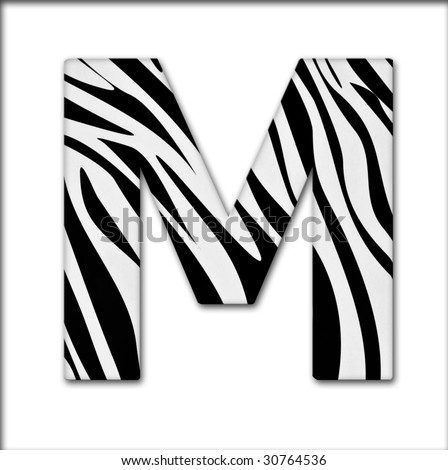 Letter M from the alphabet. Made of animal print. It has a clipping path. - stock photo