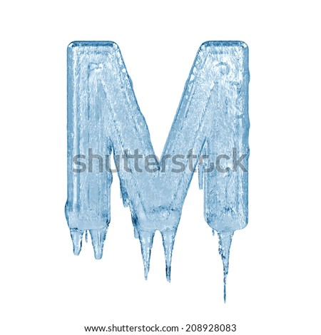 Letter M. Ice font isolated on white background. Alphabet. - stock photo