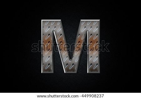Letter M in 3D Real Metal Texture - stock photo