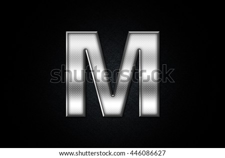 Letter M in 3D Silver Metal Texture  - stock photo