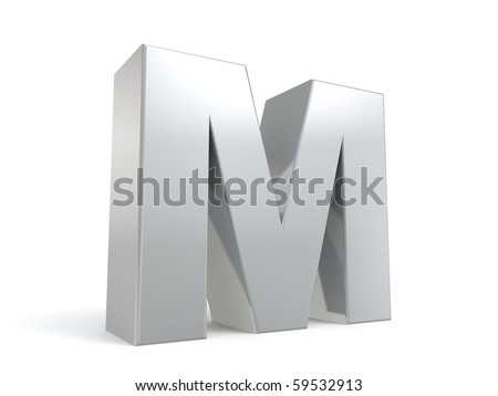 letter M in metal - stock photo