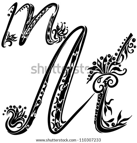Letter M m in the style of abstract floral pattern on a white background - stock photo