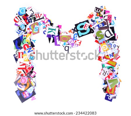 Letter M made of colorful newspaper letters isolated on white - stock photo