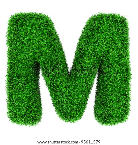 Letter M, made of grass isolated on white background. - stock photo