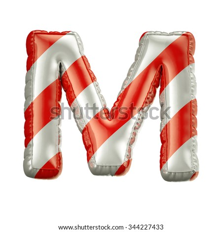Letter M. Red and white Balloon font isolated on White Background.Birthday alphabet. - stock photo