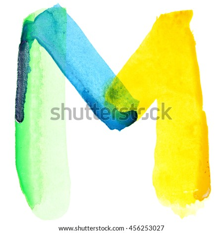 Letter M - Vivid watercolor alphabet. Colours resemble flag of Brazil - stock photo