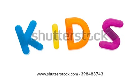 Letter magnets KIDS isolated on white - stock photo
