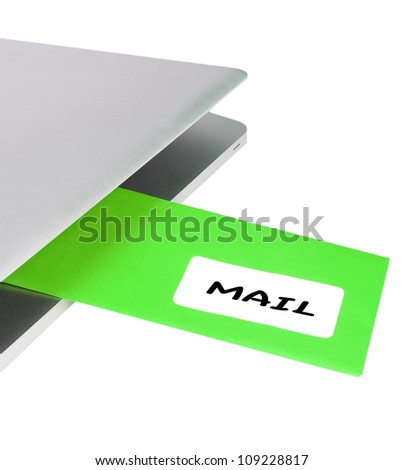 Letter MAIL flying out of modern laptop - stock photo