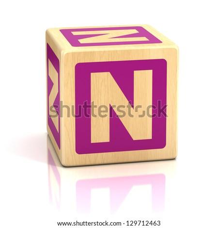 letter n alphabet cubes font - stock photo