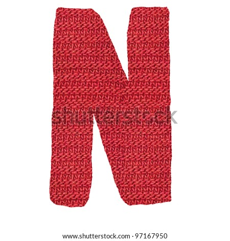 letter N alphabet, knitted spokes structure - stock photo