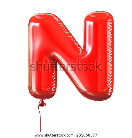 letter N balloon font - stock photo