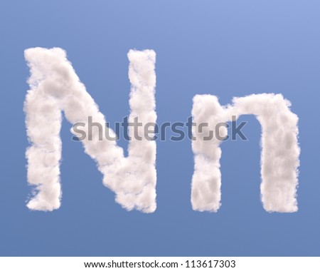 Letter N cloud shape, isolated on white background - stock photo
