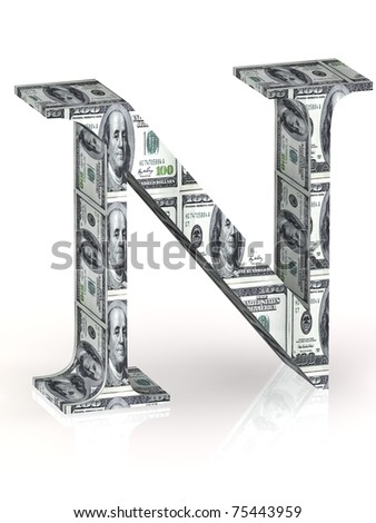 Letter N 100 dollar wrapped. - stock photo