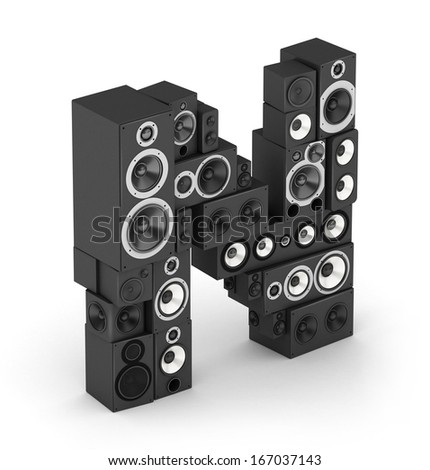 Letter N from black hi-fi speakers sound systems  in isometry - stock photo